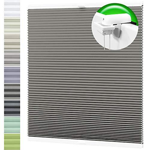 Horivert Wabenplissee Verdunklung Thermo Plissee Klemmfix Ohne Bohren Dunkelgrau Rückseite Weiß 95x130 cm