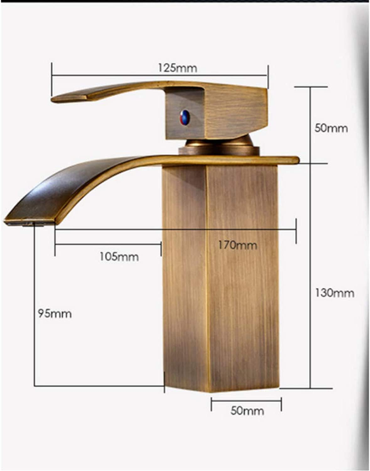 Knncch Square golden Waterfall Basin Faucet One Handle Single Lever Bathroom Sink Vanity Mixer Faucet with Hot and Cold Water
