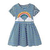FILOWA Vestidos Niña Arco Iris Estampados Azul Rayas Algodon Manga Corta Verano Casual Baratos Vestidos Infantil Bebés Niña Camiseta Ropa 6-7 años