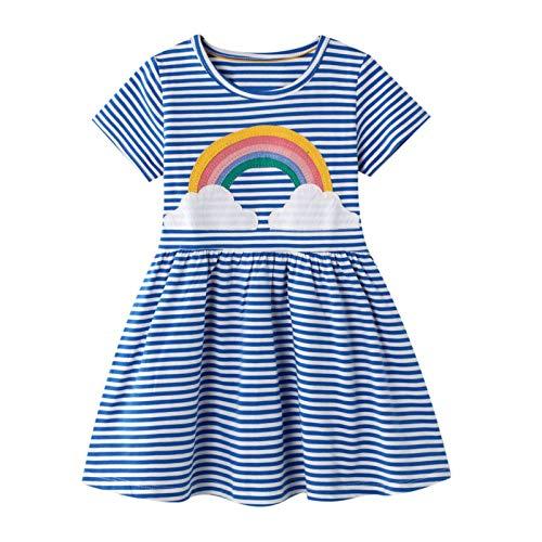 Mädchen Kleider Kinder Blau Gestreift Regenbogen Kurzarm Baumwolle Kleid Sommer Freizeit Party Festlich Baby Mädchen T-Shirt Kinderkleidung 2 3 4 5 6 7 Jahre