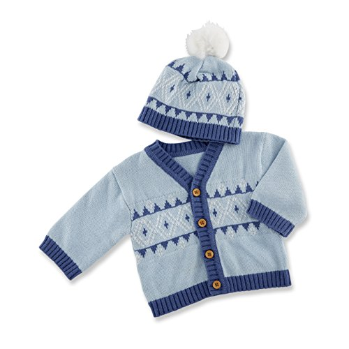 Baby Aspen Isle Cardigan and Pom Pom Hat, Blue/White/Fair