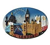 Imán para nevera de cerámica iconos de Londres - Catedral de San Pablo - Puente de la Torre - Abadía Westminster - Big Ben - Ojo - Autobús rojo dos pisos - Black Taxi - Souvenir británico Inglaterra