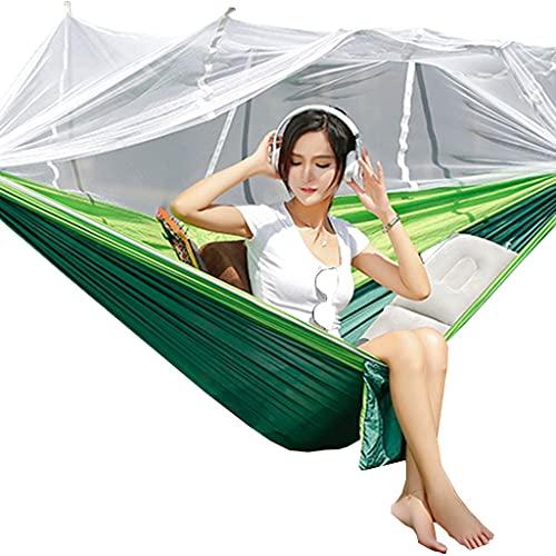 Hamacas De Camping con Mosquitero, Portátil para Exteriores, Tela De Paracaídas, Doble, Mochila De Viaje para Acampar, Carga De 300 Kg (Color : Green, Size : 120 * 250cm)