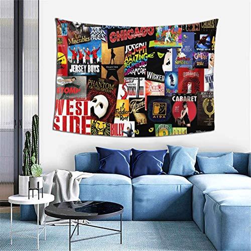 Tapiz Broadway Theatre Musical Poster Manta Mantel Hippie Trippy Tapices para colgar en la pared, decoración del hogar para dormitorio, sala de estar, estética 152,4 x 101,6 cm