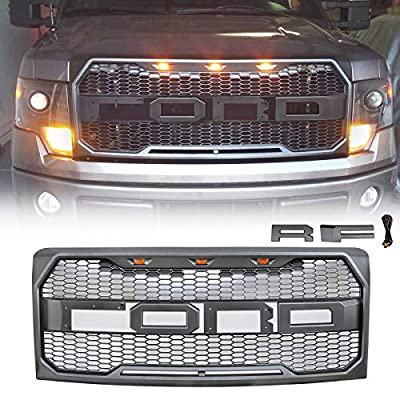 VZ4X4 Front Grill for Ford F150 Raptor Style 2009-2014, Replaceable Letters - (IT IS GRAY)