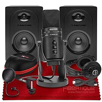 Samson G-Track Pro USB Microphone W/Audio Interface + MediaOne M50 Studio Monitors  Pair  SR850 Studio Headphones Xpix Pop Filter Xpix Headphone Case & Xpix Headphone Hanger