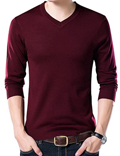 Yeokou Men's Casual Slim V Neck Winter Wool Cashmere Pullover Jumper Sweater (Large, Wine Red001)