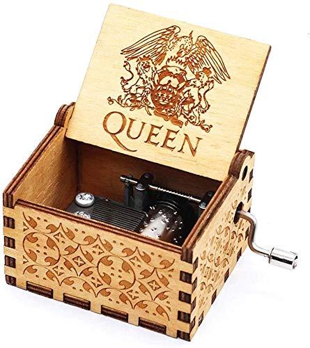 Hölzerne Hand Rocker Vintage Hand Geschnitzte Spieluhr Valentine Christmas Halloween Geschenk-Bohemian Rhapsody (Queen) Für Freundin