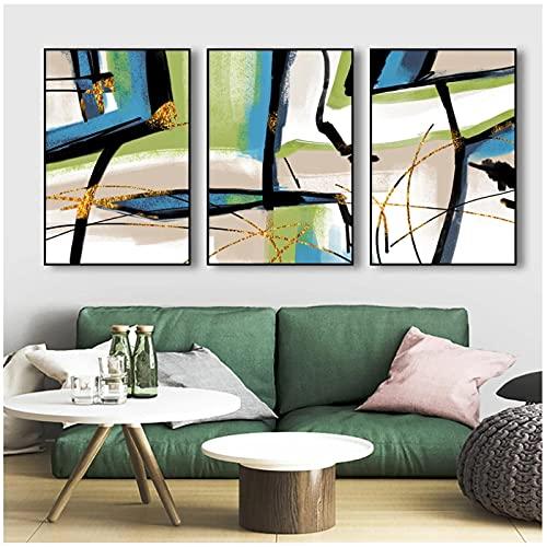 DJFBH-Cuadros decoracion salon modernos 3 piezas 40x60cm Sin marco Estilo abstracto moderno...