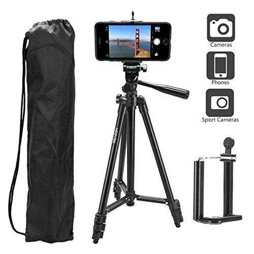 HEOYSN Handy Stativ 50 Zoll, Kamera Stativ mit Handyadapter und Tragetasche Aluminum Fotostativ für iPhone Samsung und Kamera