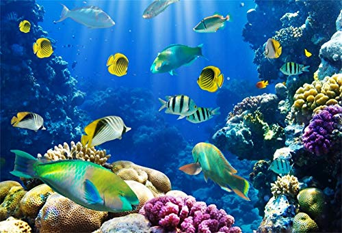 Leowefowa 7X5FT Under the Sea Backdrop Underwater World Backdrops for Photography Coral Fish Aquarium Vinyl Photo Background Interior TV Wallpaper 3D Kids Children Summer Party Studio Props