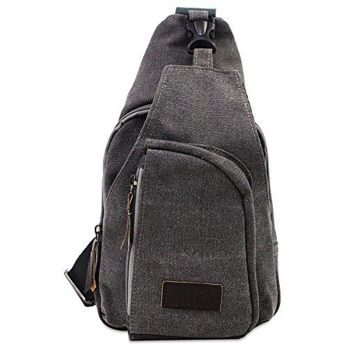 PsmGoods® Männer Umhängetasche Freizeit-Segeltuch-Taschen Reisen Wandern Tasche Rucksack Chest Pouch Sling (Grau Groß)