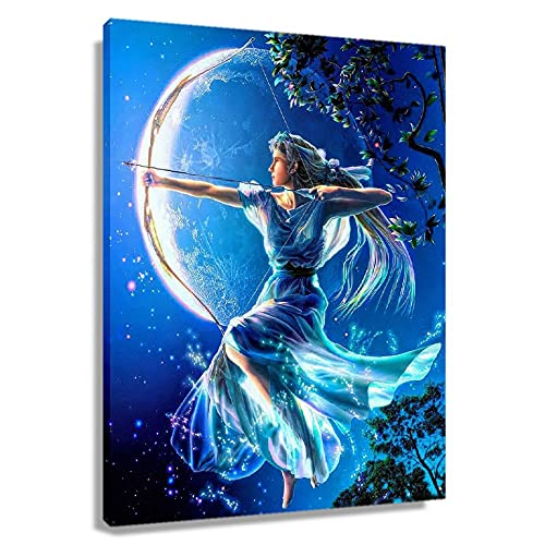 WHANQING Greek Mythology Artemis Poster for Bedroom Wall Decor Painting Canvas Artwork for Office Giclee Prints Picture Gifts Modern Decorations Hallway Pics Rectangular Pictures Artwork for Home (12x18inch(30x45cm),Unframed)