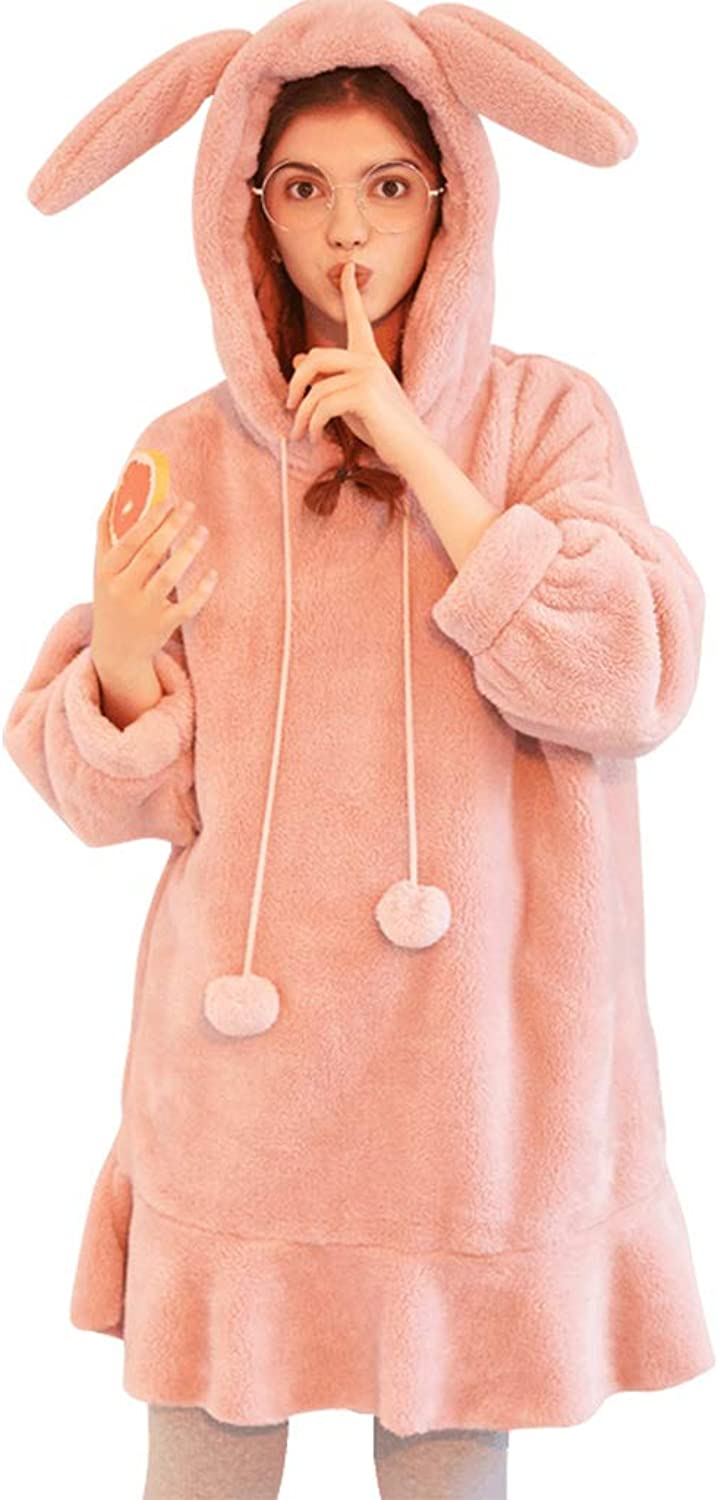 Coral Velvet Pajamas Female Winter Sweet Cute LongSleeved Loose Hooded Rabbit Home Dressing Set 2 Pieces (color   Pink, Size   XL)