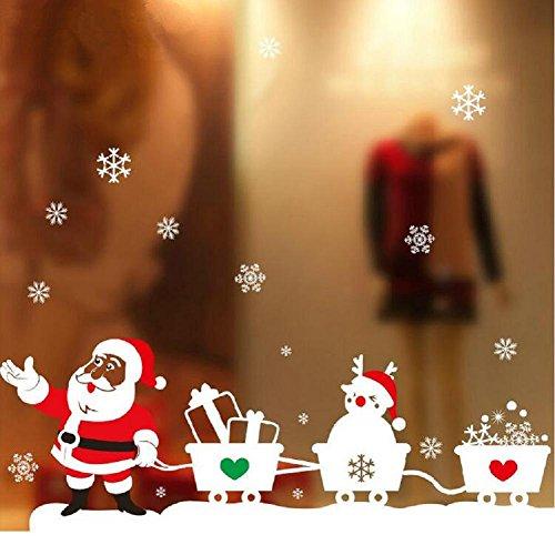 YYH Natale Decorativo Finestra Decalcomanie Pastello elettrostatica Holiday Babbo Natale Festivo Fiocco di Neve Wall Sticker Confezione da 10
