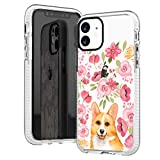 iPhone 11 Clear Case,Cute Corgi with Pink Blooms Flowers Floral Daisy Love Funny Puppy Dog Trendy Hipster Adorable Case for Girls Women Soft Protective Clear Case with Design Compatible for iPhone 11