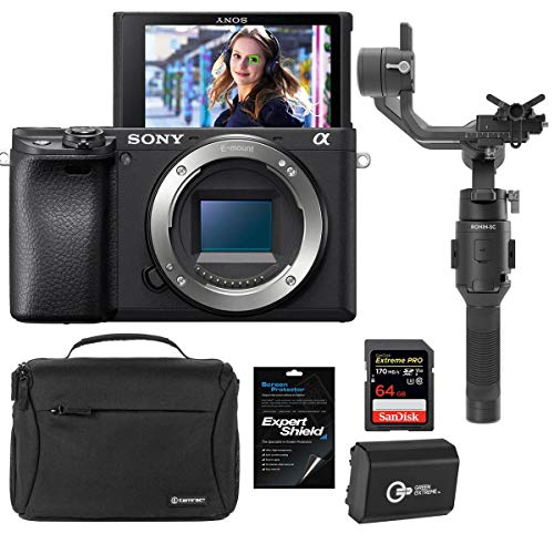 Sony Alpha a6400 Mirrorless Digital Camera Body - Bundle with DJI Ronin-SC Gimbal Stabilizer, Shoulder Bag, 64GB SDXC Memory Card, Spare Battery, Screen Protector