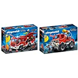 Playmobil City Action Camión De Bomberos con Luces Y Sonido, A Partir De 4 Años (9464) + City Action Todoterreno con Efectos De Luz Y Sonido, A Partir De 5 Años (9466)