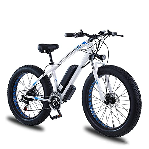 YIZHIYA Bicicleta Eléctrica, 26' Bicicleta de montaña eléctrica, Batería de Litio extraíble Oculta, Bicicleta eléctrica para Adultos en Moto de Nieve de 21 velocidades,Blanco,36V 8AH 350W
