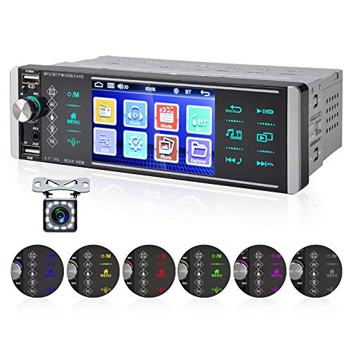 OiLiehu 1 Din Autoradio, lettore MP5 per auto 12V 4,1 pollici con assistente vocale AI chiamata in vivavoce Bluetooth FM 4 USB scheda SD + telecomando (senza batteria) & Videocamera per retrovisione