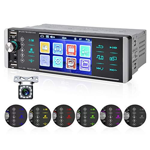 OiLiehu 1 Din Autoradio, lettore MP5 per auto 12V 4,1 pollici con assistente vocale AI/chiamata in vivavoce Bluetooth/FM/4 USB/scheda SD + telecomando (senza batteria) & Videocamera per retrovisione