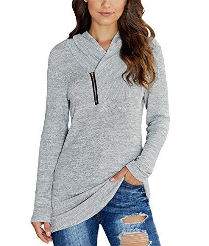 KIRUNDO 2019 Winter Women's Long Sleeves Pullover Zipper Cowl Neck Tops Solid Color Sporty Sweatshirts (Medium, Grey)