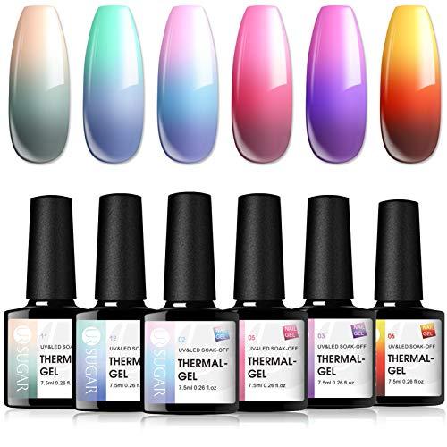 UR SUGAR 7,5ml Gellack UV Thermo Nagellack Set Farbwechsel Temperatur Farbgel für Nägel Chamäleon Effekt Soakoff 6 Farben Kit