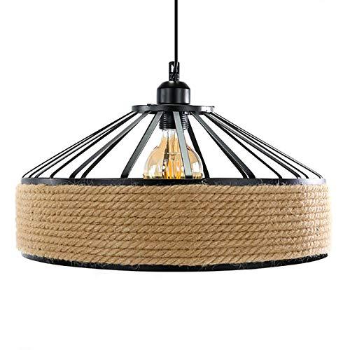 LEDUNI ® Lampara Colgante de Techo Iluminación Decorativa Vintage Cuerda de Cáñamo Gruesa Colgante de Cáñamo Lámpara de Cuerda Luces Colgantes Decoración de Estilo Rural E27