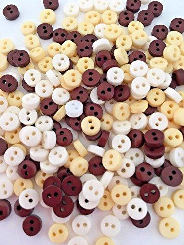 Lot de 50 petits boutons de 6 mm Marron foncé, crème et blanc pour confection de vêtements de poupées