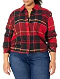 Dickies Women's Size Long-Sleeve Flannel Shirt, English Red Black Plaid, 3X-Large Plus