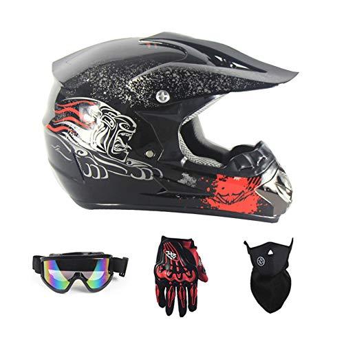 SanQing Motorrad-Sturzhelm, Jugend Kinder Dirt Bike Helme, Renn Motocross Fahrradhelm Vier Jahreszeiten universal (Handschuhe, Schutzbrille, Schutzmaske, 4-teiliges Set),Black Beast,S