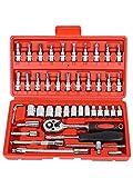 Set di chiavi a bussola, 46 pezzi, con chiave a tubo, cricchetto, chiavi a cricchetto, ada...