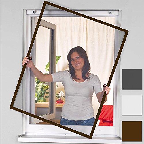 easy life Insektenschutz Fenster greenLINE 120 x 140 cm in Braun Fliegengitter mit ALU Rahmen Insektenfenster ohne Bohren individuell kürzbares Fliegennetz