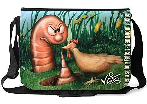 Veit'S lustige Schultertasche Schultasche College Tasche mit Motiv Megawurm - TAB0144