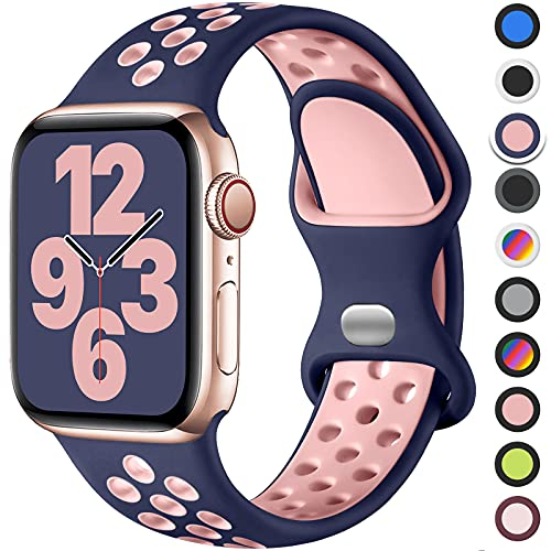 Upeak Correa Compatible con Correa Apple Watch 44mm 42mm 40mm 38mm, Pulsera de Silicona Transpirable con Hebilla de Doble Orificio, para iWatch Series 6 5 4 3 2 1 SE, 42mm/44mm-M/L, Azul/Rosa