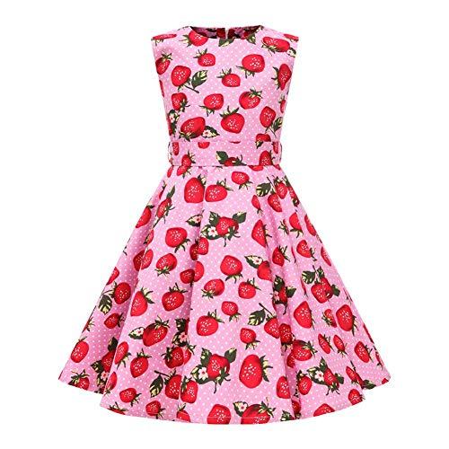 Mädchen Blumendruck Sommerkleid Vintage 1950er Polka Dots Partykleid Prinzessin Baumwolle Hochzeit Geburtstag Abendkleid A Linie Ärmellos Retro Swing Faltenkleid mit Hüftgurt Rosa 9-10 Jahre
