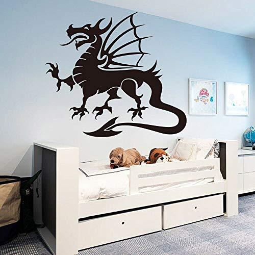 Etiqueta engomada de la pared del vinilo del dragón de los animales míticos Etiqueta engomada de la pared inspiradora de la familia del dragón volador