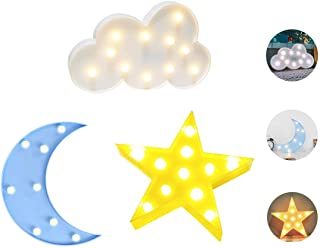 Luckiey Decorative LED Crescent Moon Star Cloud Night Lights for Kids and Adults, Baby..