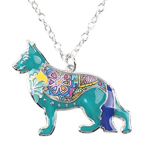 Love Heart Enamel German Shepherd Dog Necklace 18' Pet Animal Lover Tag Gift for Men Women Teens (Blue)