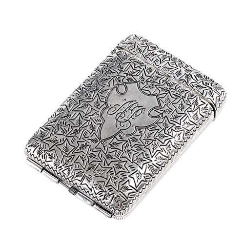 ANPU Hochwertige Metall-Zigaretten-Fall-Kasten hält 14 Zigaretten (Color : Silver, Size : 99 * 68 * 21mm)