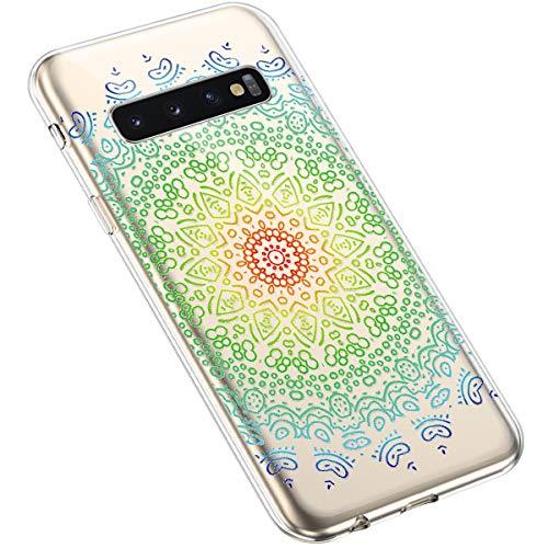 Uposao Samsung Galaxy S10 Plus Coque Silicone Transparente Motif Mandala Fleur Coloré Jolie Beau Housse de téléphone Semi Hybrid Crystal Case Antichoc Coque Housse Étui pour Samsung Galaxy S10 Plus,#2