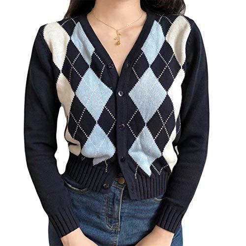 GHBOTTOM Pullover Damen Herbst Langarm Strickcardigan adretter Stil Vintage Argyle-Plaid Pullover Mantel Einreihig Knopfleiste Slim Crop Top Outwear Gr. S, siehe abbildung