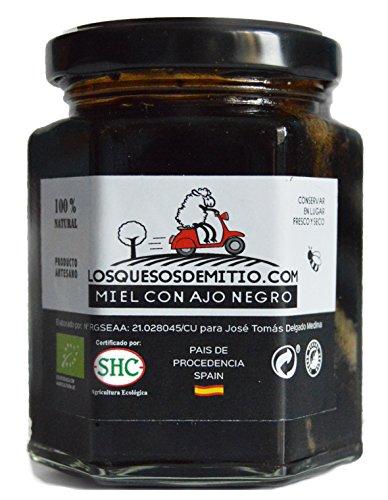Honig mit biologischem Schwarzen Knoblauch von Losquesosdemitio (ein Glas, bio, Herkunftsland Spanien, 240g)