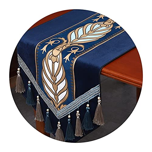 Caminos de mesa Armario De TV Toalla De Cubierta De Estilo Europeo Simple Decorativo Mesa De Comedor En El Medio, Toalla De Cubierta De Porche (Color : Blue, Size : 34 * 260cm)
