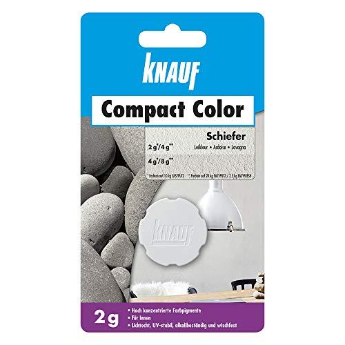 Knauf Compact Colors Farb-Pigmente – Pigment-Pulver zum Einfärben von Putz, nicht staubend, hoch konzentriert und wischfest, Schiefer, 2-g