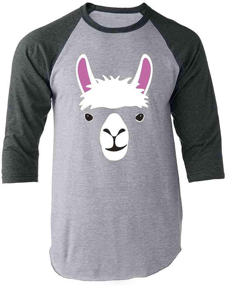 Llama Big Animal Face Cute Funny Raglan Baseball Tee Shirt