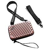 Flywill Handy Umhängetasche Hart ABS + PC Mode Damen Schultertasche Kupplung 3D Streifenmuster Handtasche mit Abnehmbar Schultergurt Handschlaufe Klein Tasche für Handy unter 6.5 Zoll, Roségold