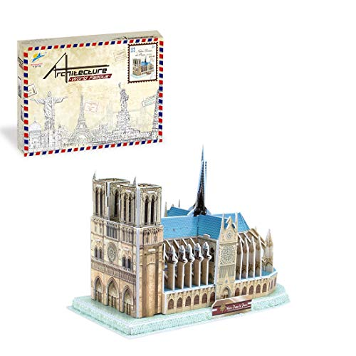 JXJ DIY 3D Puzzle World Building Model Notre-Dame De Paris London Bridges Three-Dimensional Puzzle Children's Creative DIY Assembled Toy,Notre Dame