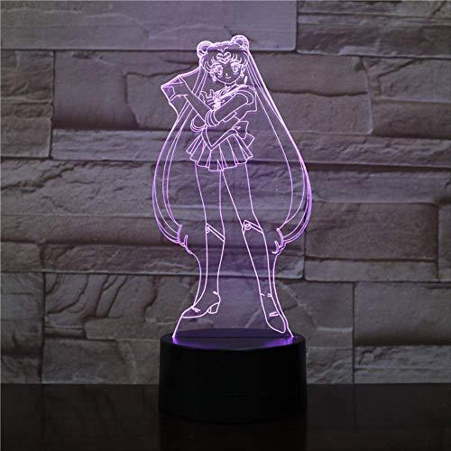 USB 3D Led Luz de Noche Decoración Niños Niño Niños Niños Bebé Regalos Japonés Anime Marinero Luna Lámpara de Mesa Mesita de Noche
