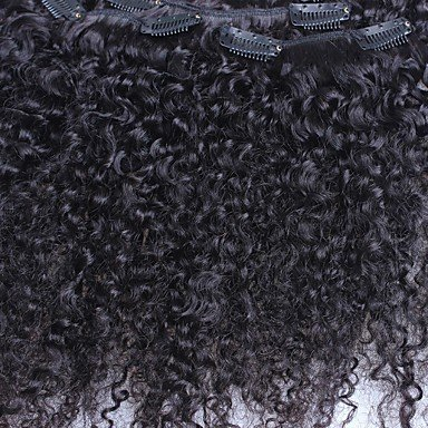MZP Kinky Curly 7pieces / set clip dans les extensions de cheveux humains Indien Remy cheveux couleur naturelle 120g / set , 12 inch
